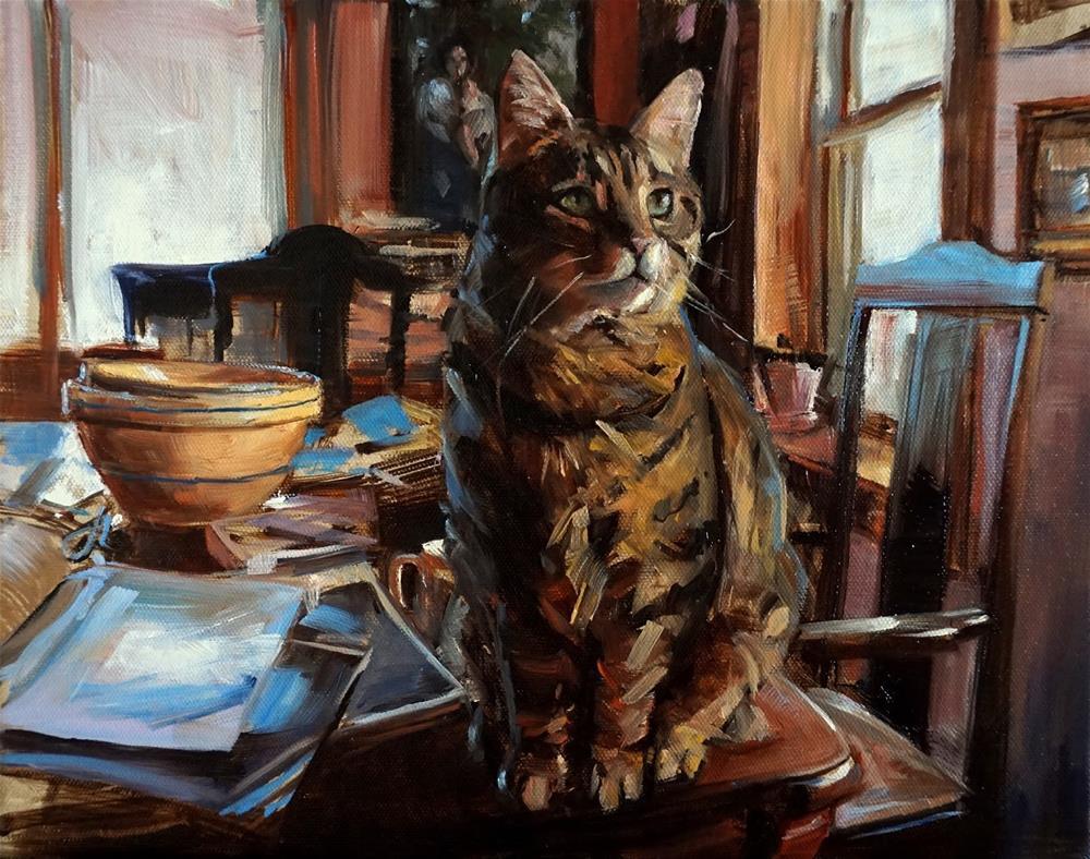 """""""Cat on a Messy Table II"""" original fine art by Jonelle Summerfield"""