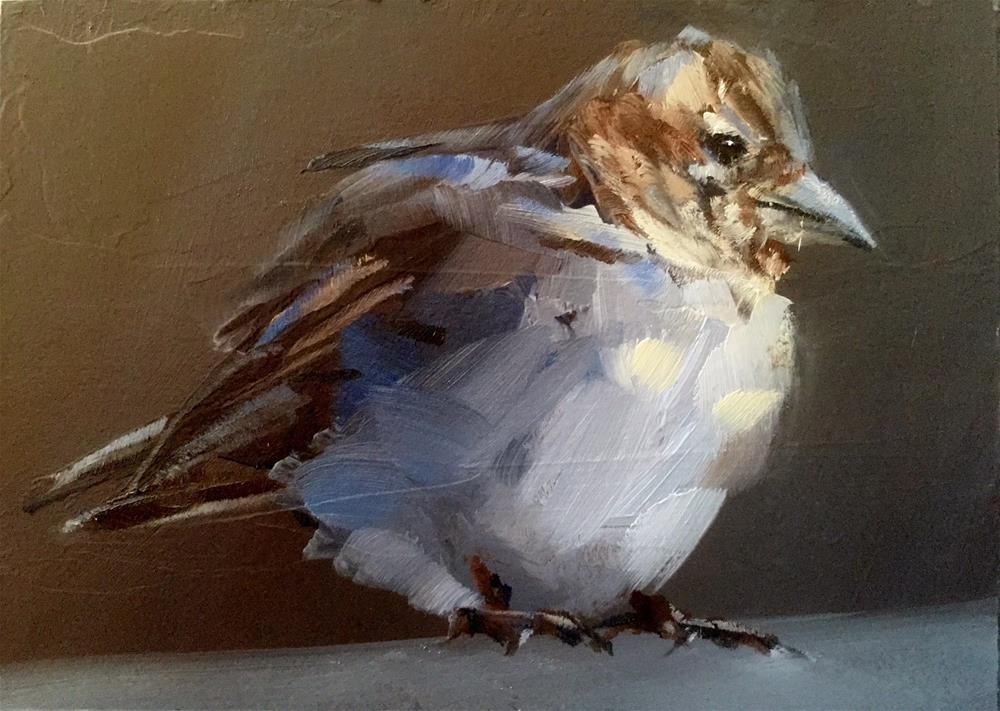 """Sparrow on a Ledge"" original fine art by Gary Bruton"