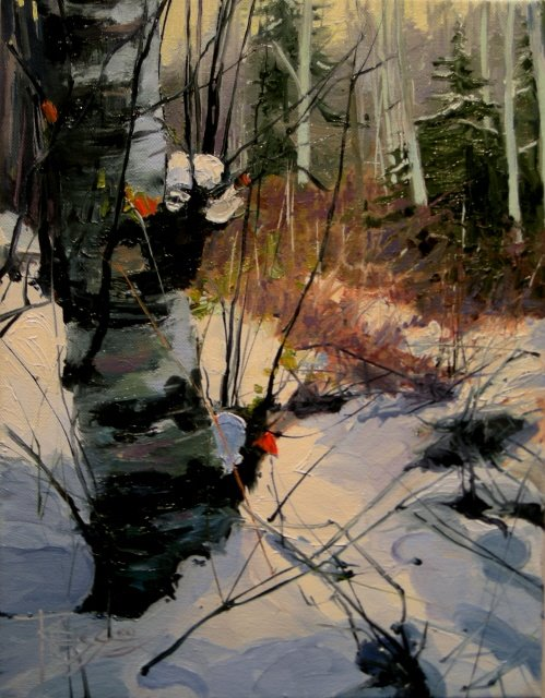 """Alders and Firs in Snow   landscape, oil painting"" original fine art by Robin Weiss"
