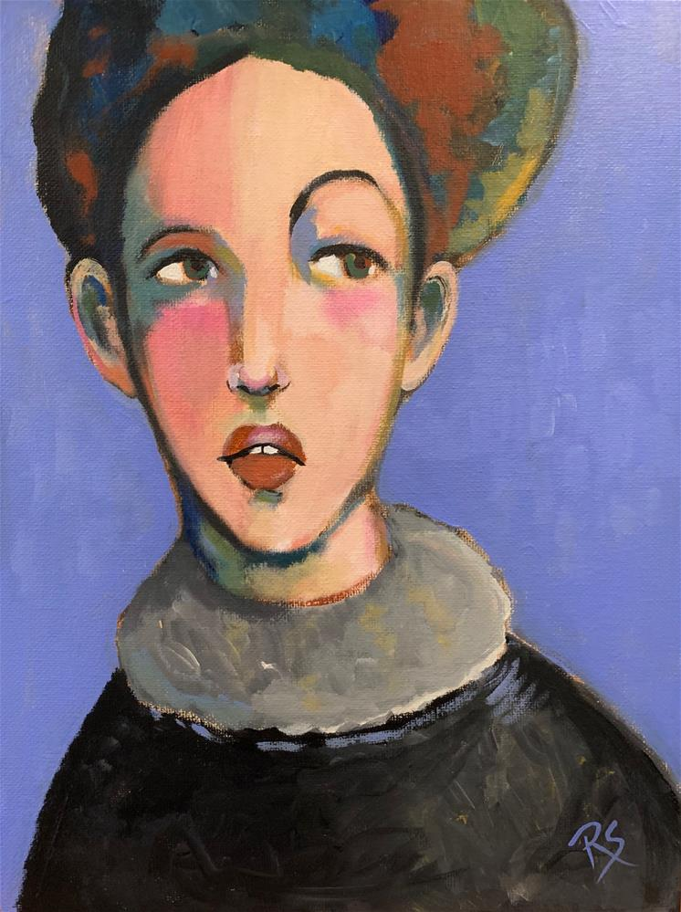 """#13 The Girl with Quirky Hair"" original fine art by Roberta Schmidt ArtcyLucy"