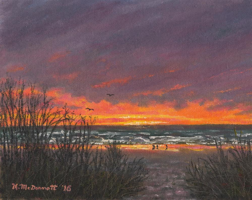 """""""Ocean Daybreak # 2 (C) 2016 by K. McDermott"""" original fine art by Kathleen McDermott"""