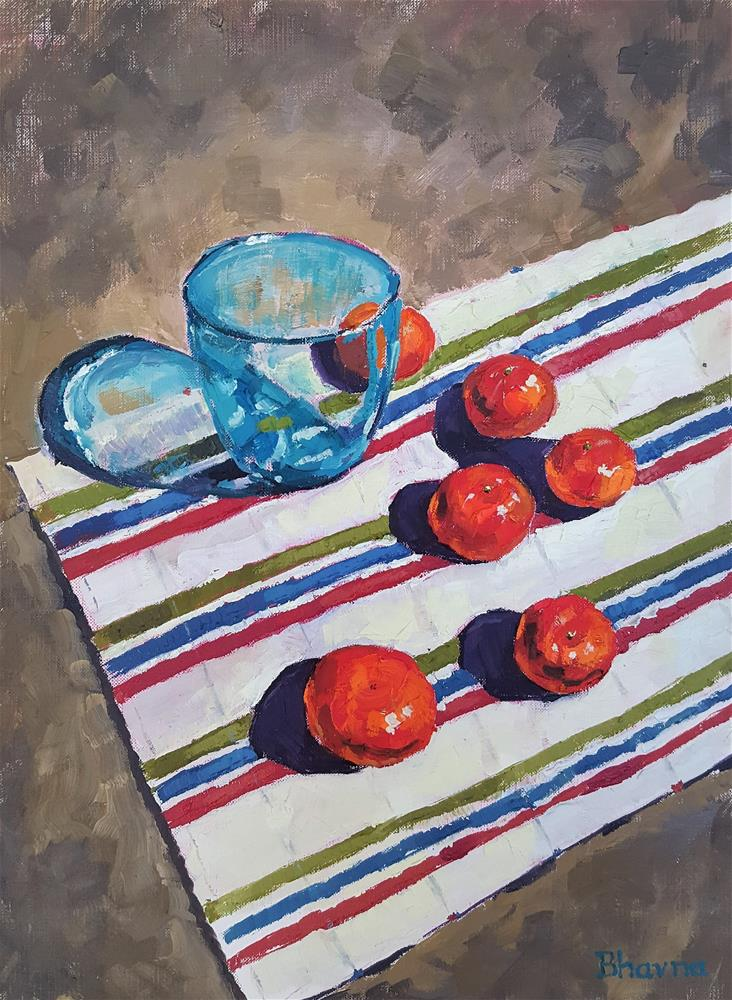 """""""""""Clementine Cuties and a Teal Tumbler"""" """" original fine art by Bhavna Misra"""