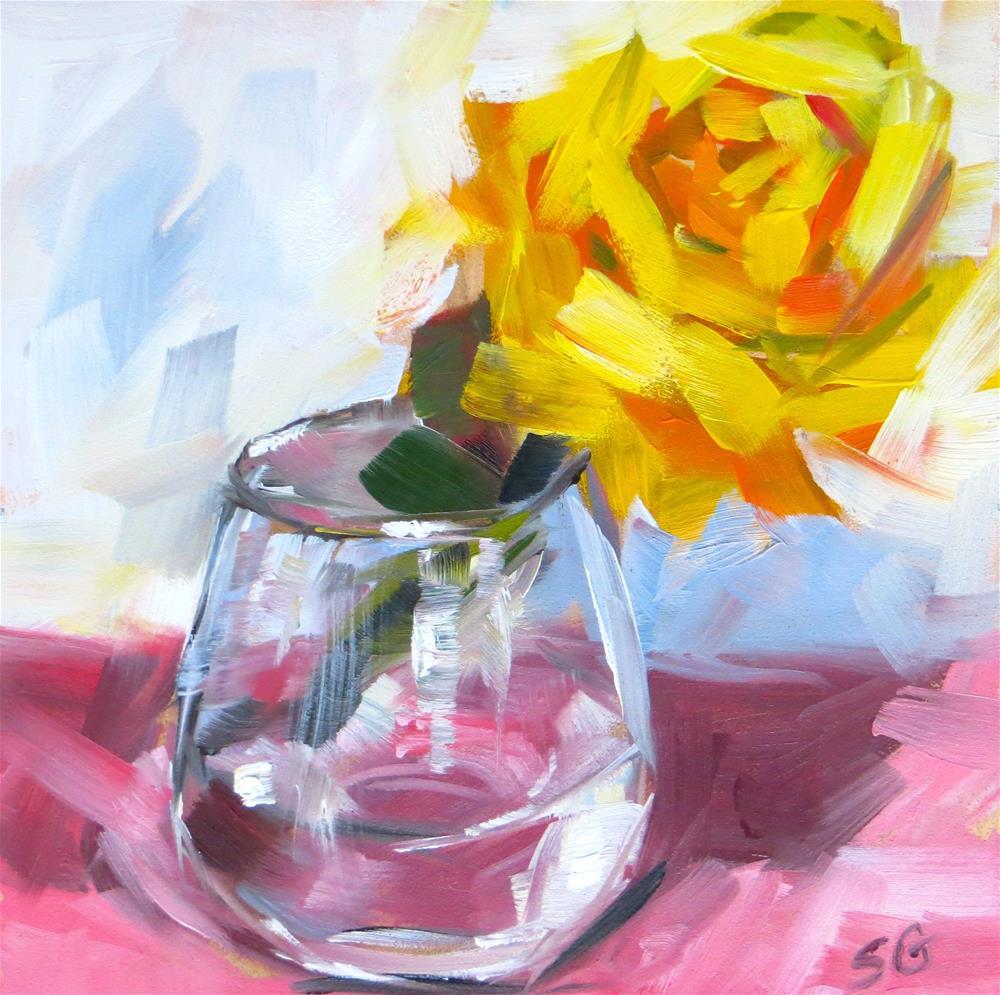 """Mini Yellow Rose"" original fine art by Susan Galick"