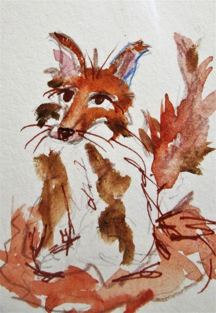 """Red Fox aceo"" original fine art by Delilah Smith"