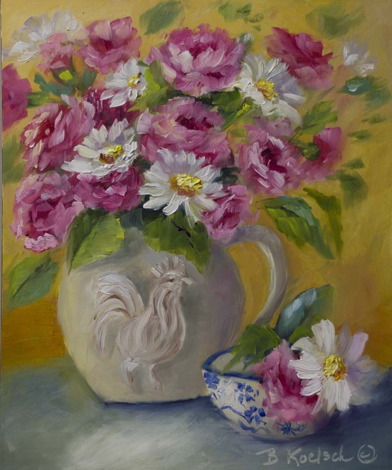 """""""Casual Carnations and Daisies"""" original fine art by Bobbie Koelsch"""
