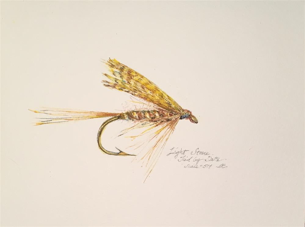 """""""Trout Fly - Light Stone by Dette"""" original fine art by Jean Krueger"""