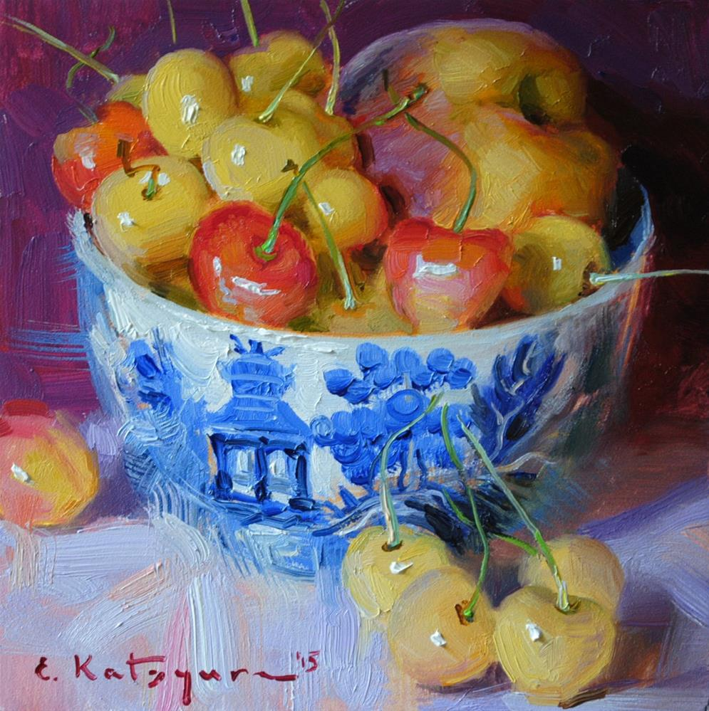 """Peach and Yellow Cherries"" original fine art by Elena Katsyura"