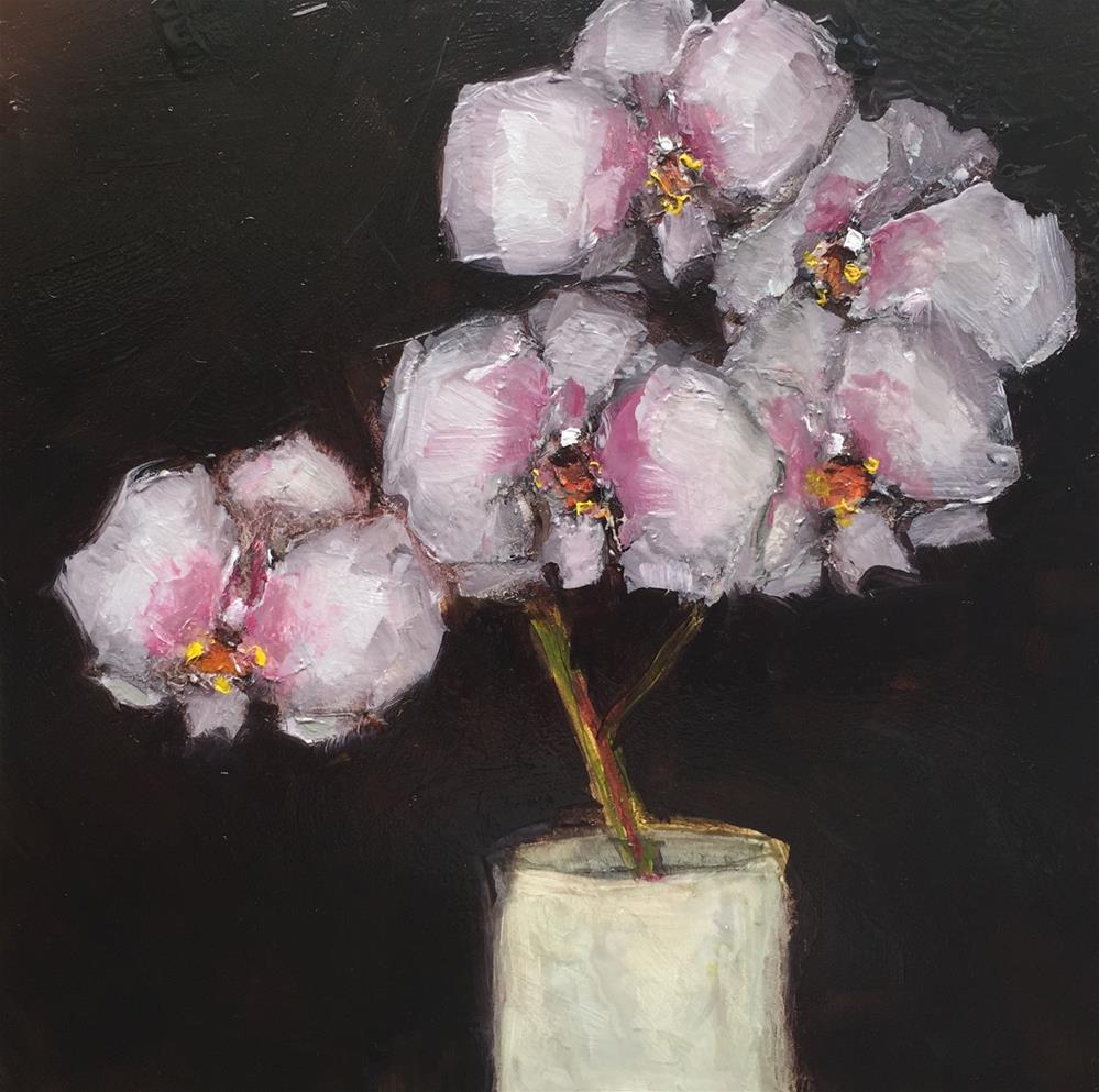 """""""STILL LIFE Phaelonosis Orchid Floral Original Art Colette Davis 6x6 Painting OIL"""" original fine art by Colette Davis"""