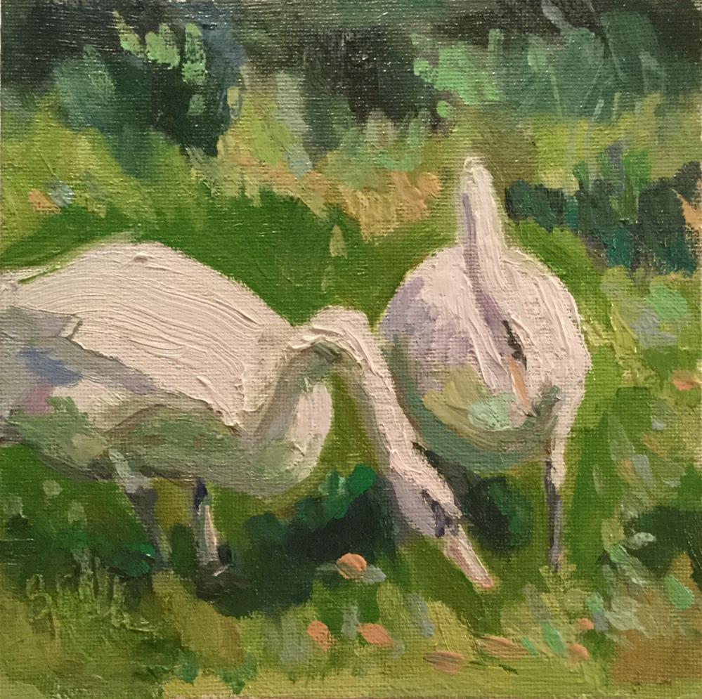 """Two Swans"" original fine art by Barb Walker"