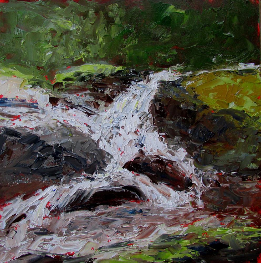 """8 x 8 inch oil Waterfall #2"" original fine art by Linda Yurgensen"