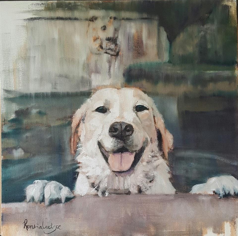 """Dusty having fun"" original fine art by Rentia Coetzee"