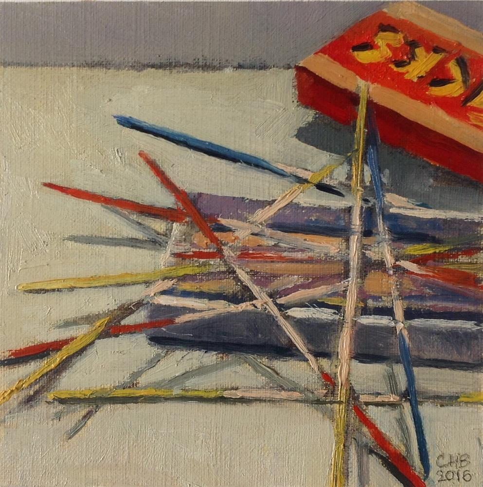 """Pick up sticks"" original fine art by Christine Bayle"