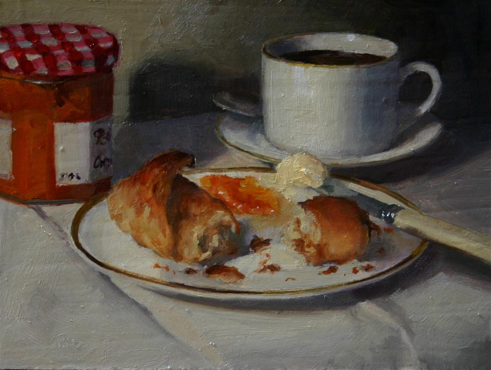 """Croissant, Coffee and Conserve"" original fine art by Liz Balkwill"
