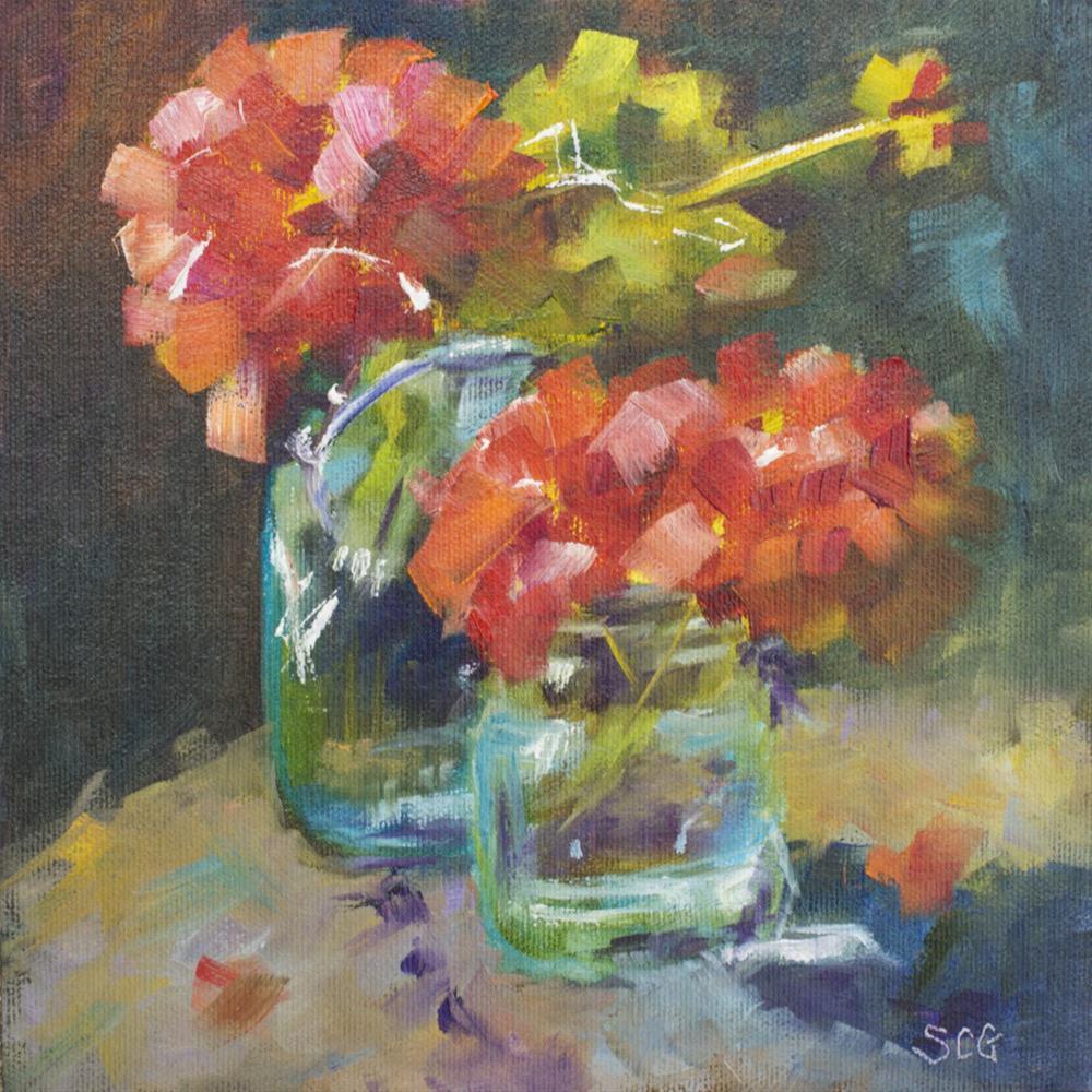 """Red Geraniums in Glass Jars"" original fine art by Sue Churchgrant"