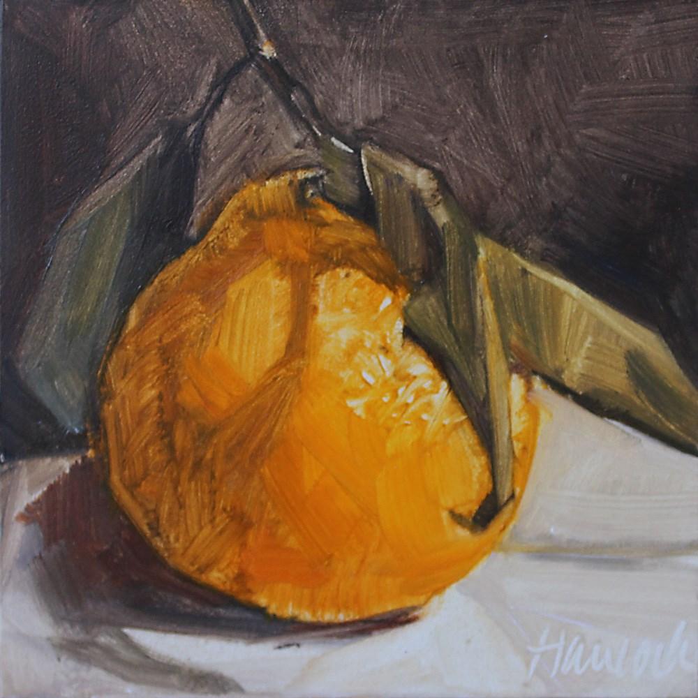 """Tangerine on Black"" original fine art by Gretchen Hancock"