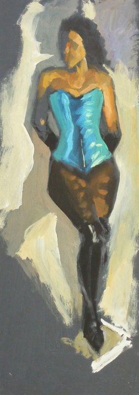 """Metallic blue corset"" original fine art by Peter Orrock"