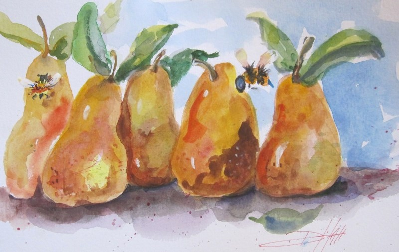 """""""Pears and Bees"""" original fine art by Delilah Smith"""