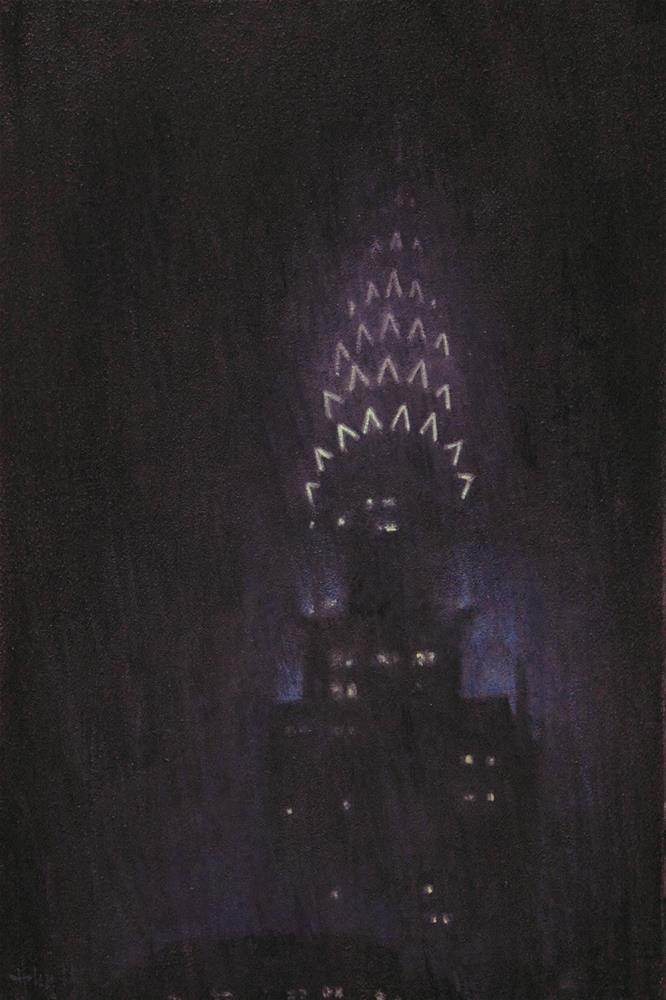 """Rain on The Chrysler"" original fine art by Ski Holm"