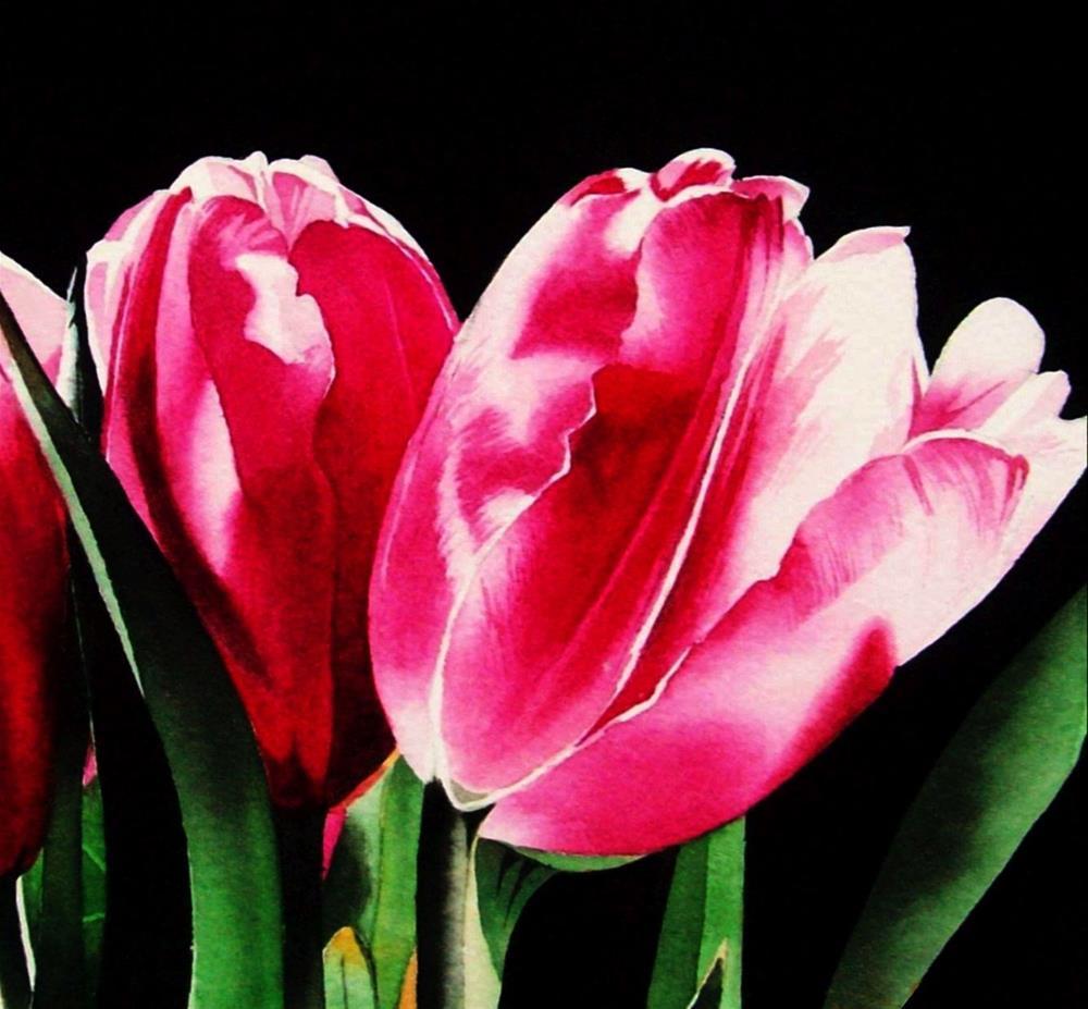"""Pretty in Pink - Tulips"" original fine art by Jacqueline Gnott, TWSA, WHS"
