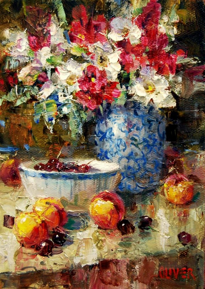 """""""Oleanders, Peaches and Handy Hint."""" original fine art by Julie Ford Oliver"""