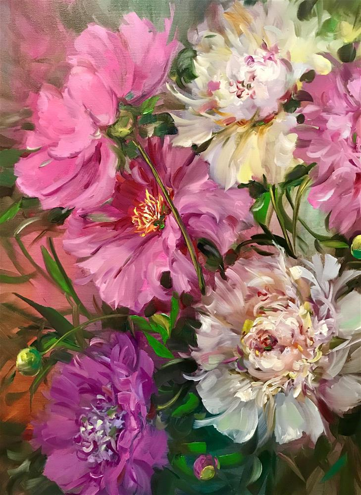 """Alaskan Summer Peonies, detail"" original fine art by Nancy Medina"