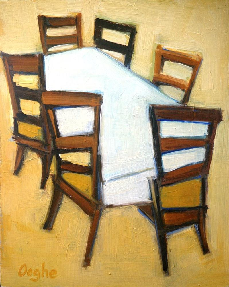 """Chairs around a Table"" original fine art by Angela Ooghe"