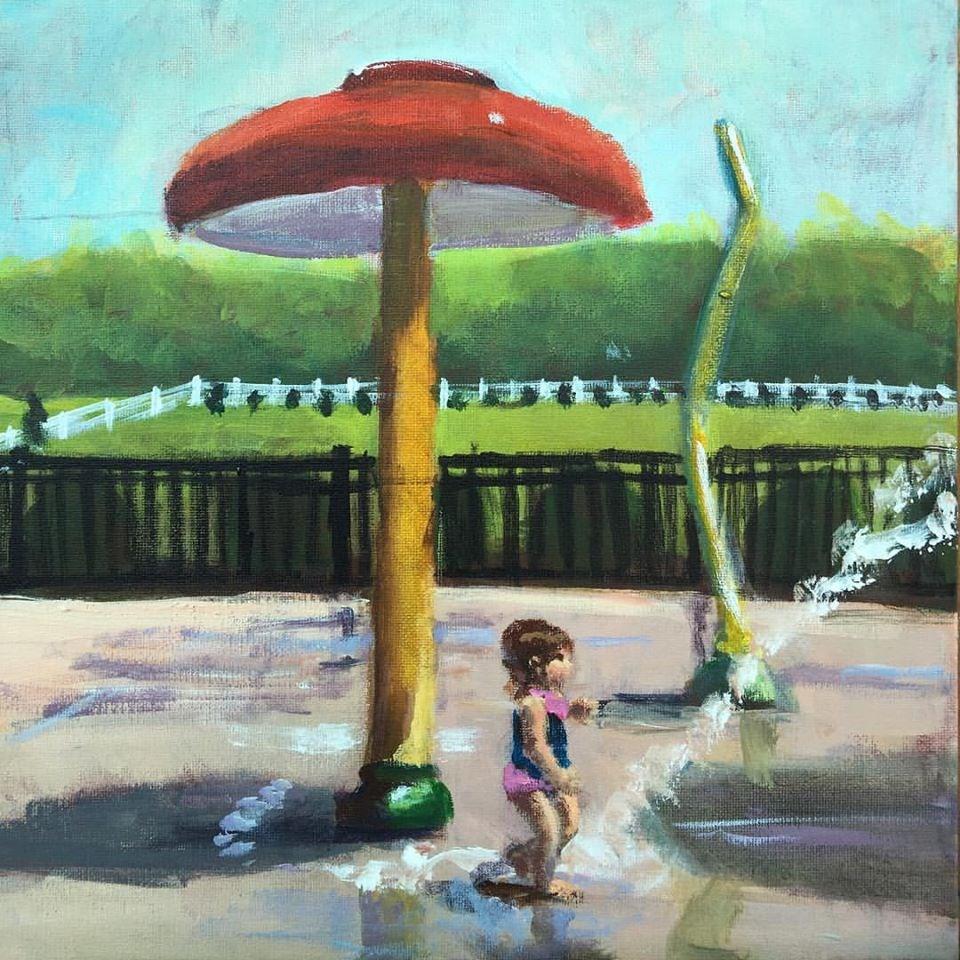 """Splash Pad"" original fine art by Susan Elizabeth Jones"