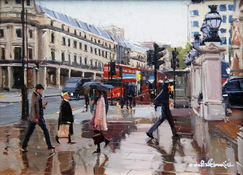 """Rain, Rain, Rain, All day, Charing Cross"" original fine art by Adebanji Alade"