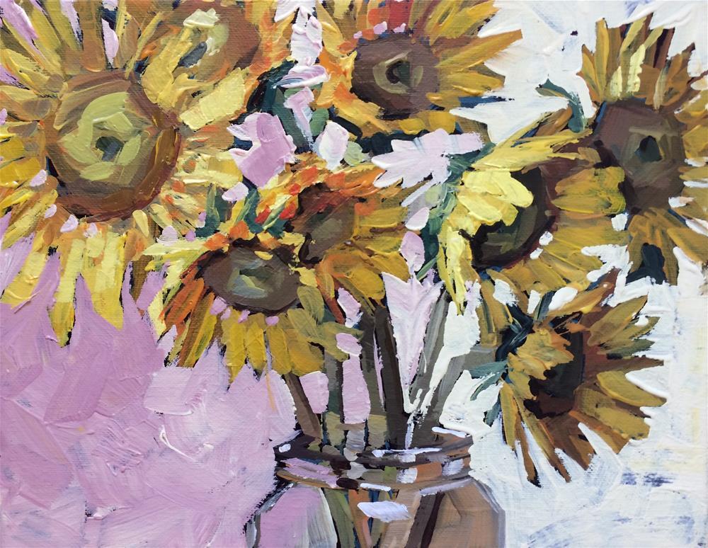 """Sleepy Sunflowers"" original fine art by Teddi Parker"