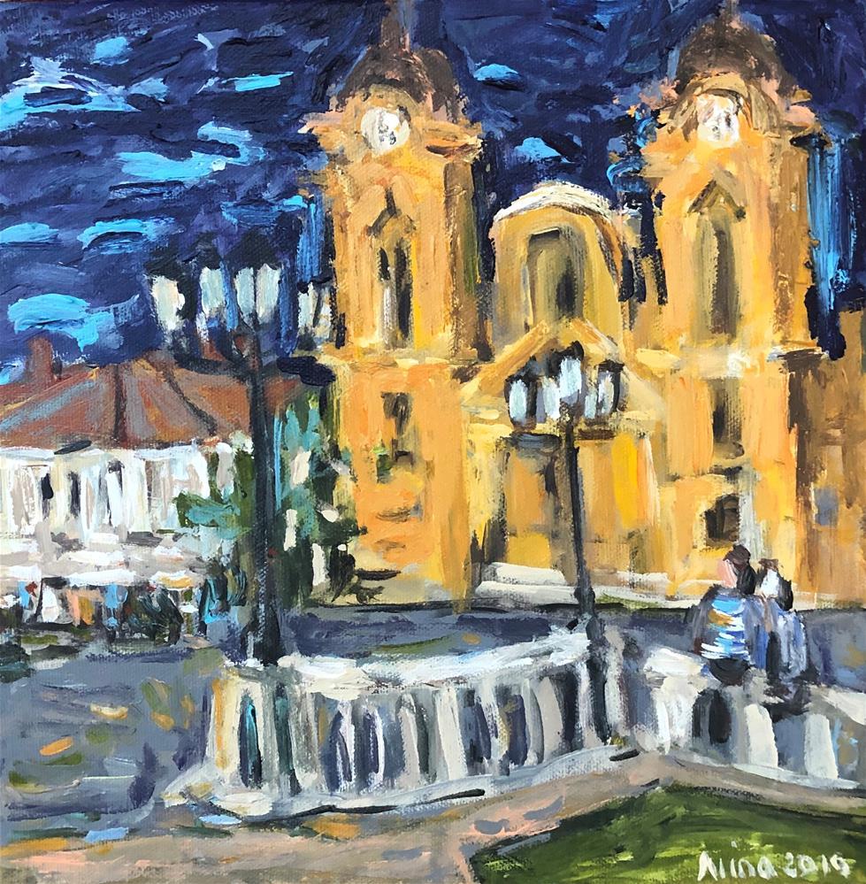 """""""Town Square"""" original fine art by Alina Vidulescu"""