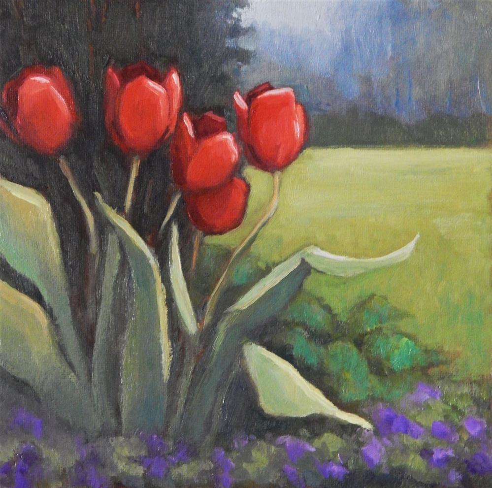 """Red Tulips"" original fine art by Lisa Kyle"