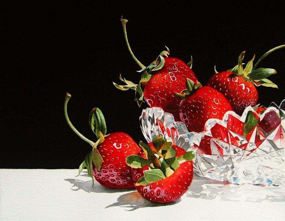 """Strawberries & Crystal"" original fine art by Jacqueline Gnott, TWSA, WHS"