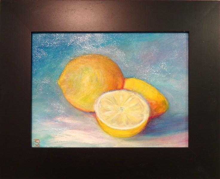 """""""4029 - Framed - Lemons - Brushstroke Painting"""" original fine art by Sea Dean"""
