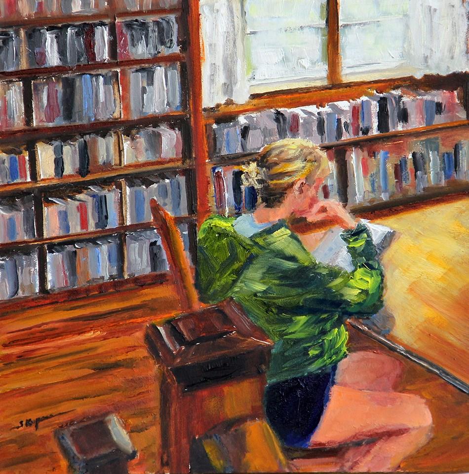 """""""Shhh!  It's the Library!"""" original fine art by Shelley Koopmann"""