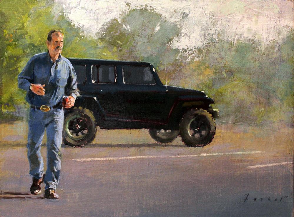 """""""Parking Lot Wrangler"""" original fine art by Ron Ferkol"""