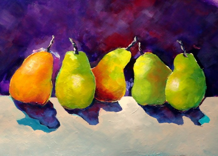 """Dancing Pears"" original fine art by Laurie Mueller"