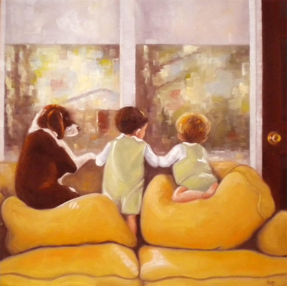 """Waiting for Daddy"" original fine art by Darla McDowell"