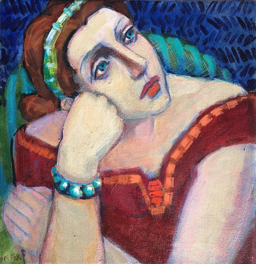 """""""Dreamer, figurative painting of woman musing, female figuration, pensive girl, contemporary figure p"""" original fine art by Marie Fox"""