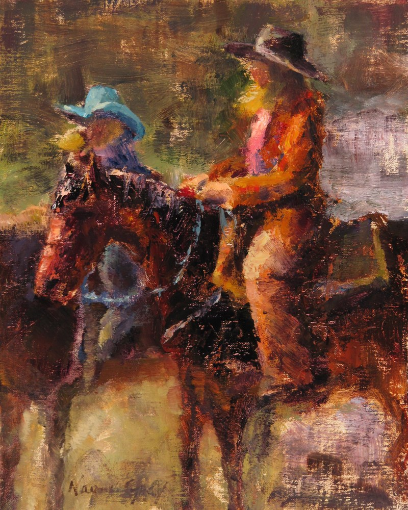 """""""Riding Windy and Brown"""" original fine art by Naomi Gray"""