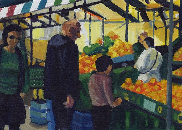 """Market Day, Cambridge"" original fine art by J M Needham"
