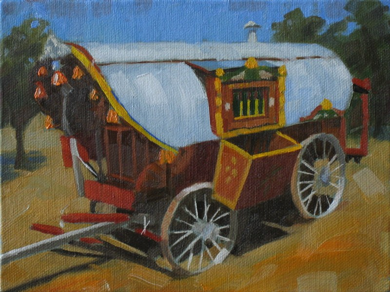 """Gyspy wagon  6x8  oil"" original fine art by Claudia Hammer"