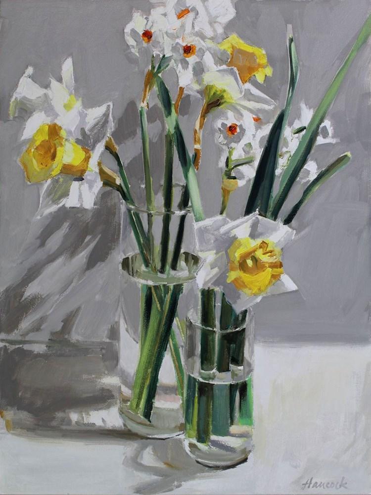 """Daffodils Two Vases"" original fine art by Gretchen Hancock"