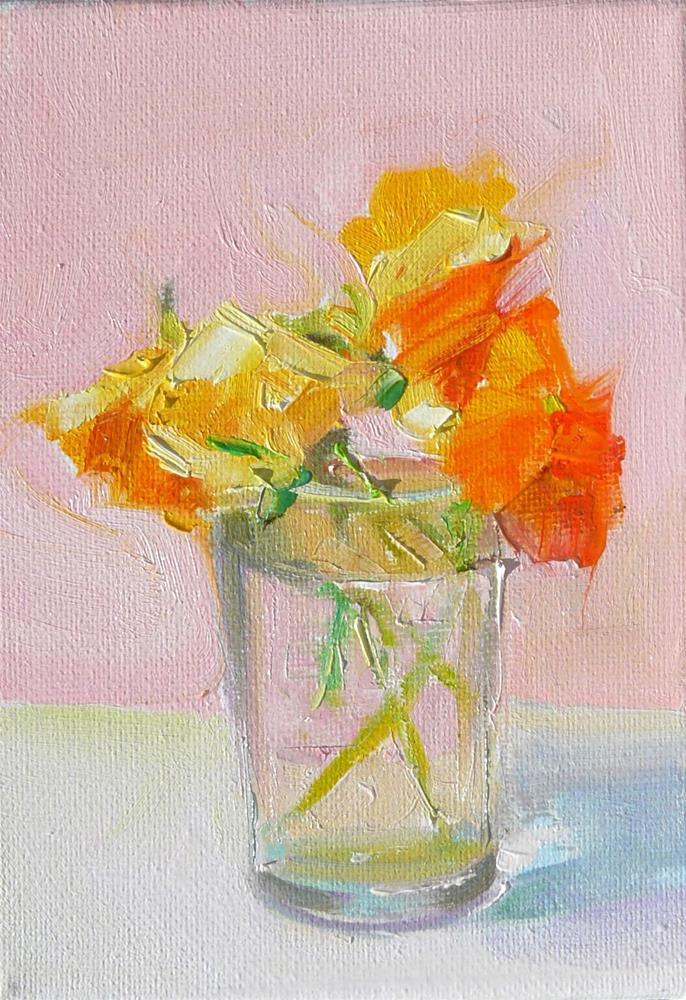 """Orange Pansies in Small Glass,still life,oil on canvas,7x5,price$175"" original fine art by Joy Olney"