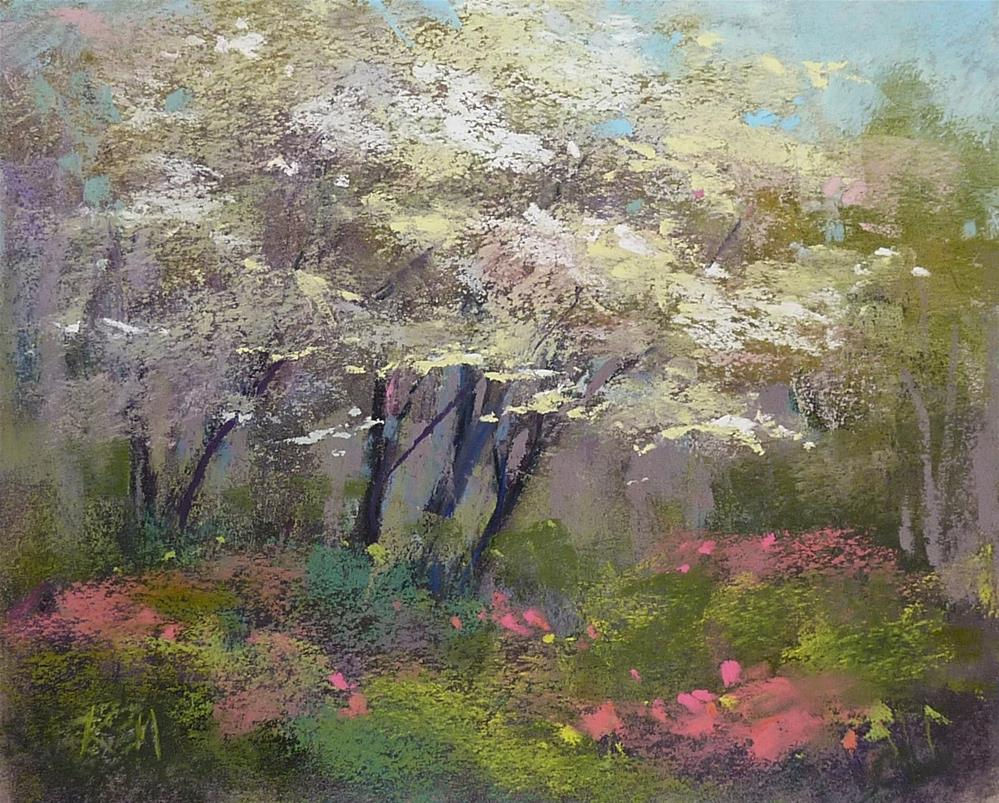 """""""Painting a Dogwood Tree in Three Easy Steps"""" original fine art by Karen Margulis"""