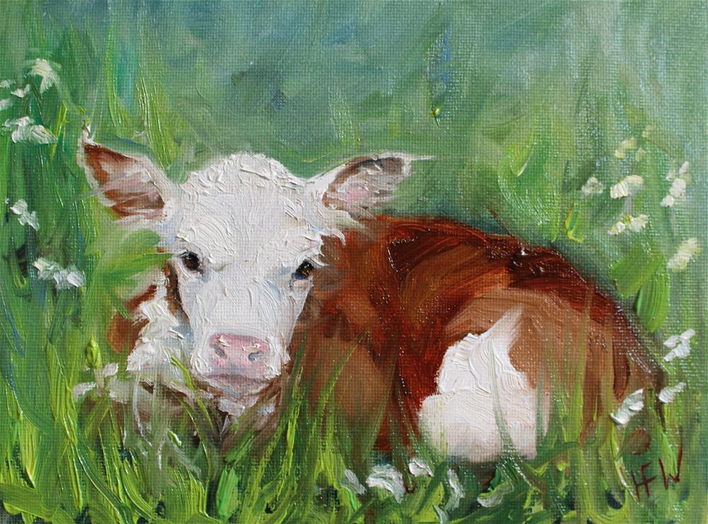 """""""Sweet Little Hereford Calf"""" original fine art by H.F. Wallen"""
