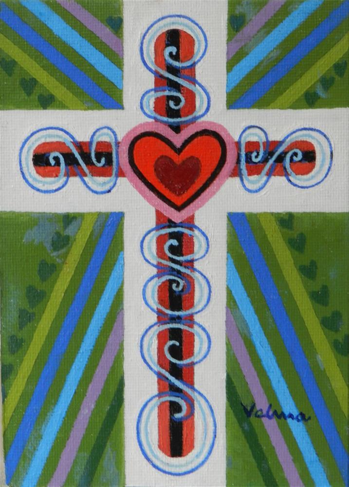 """Jeweled Cross 4"" original fine art by Velma Davies"