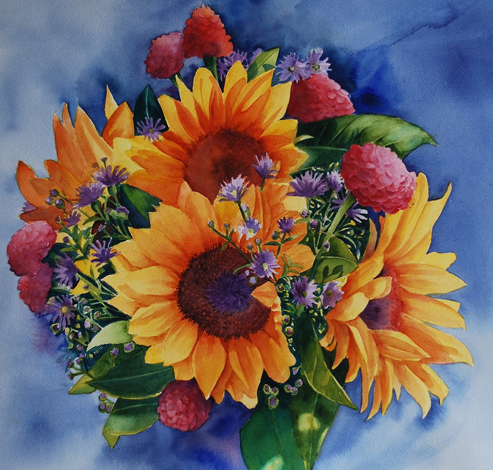 """Saturday Market Sunflowers"" original fine art by Mary Anderson"