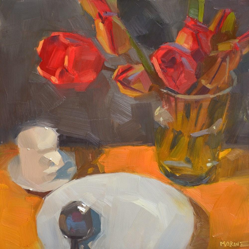 """Tea and Tulips"" original fine art by Carol Marine"