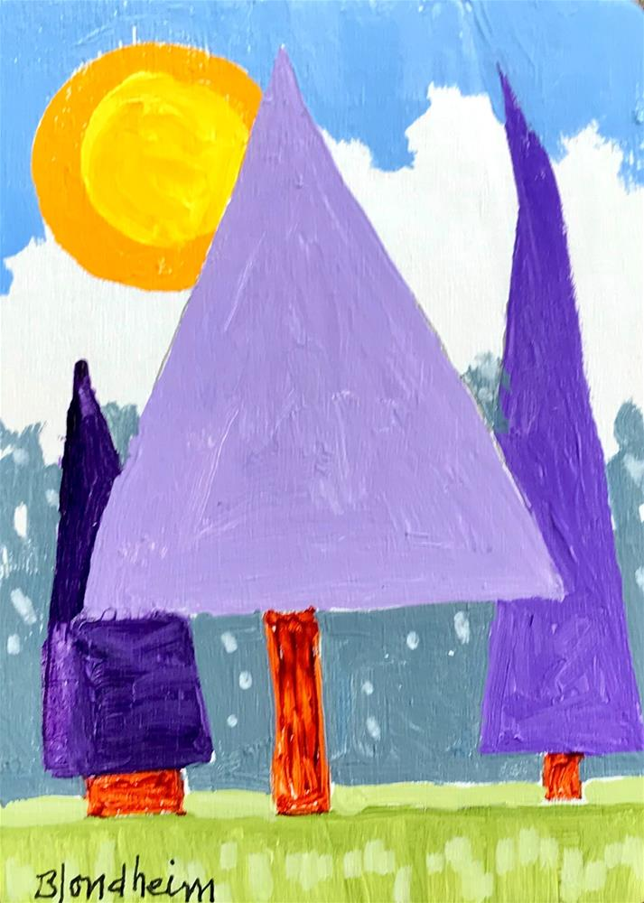 """Tree Toons Purple Trees"" original fine art by Linda Blondheim"