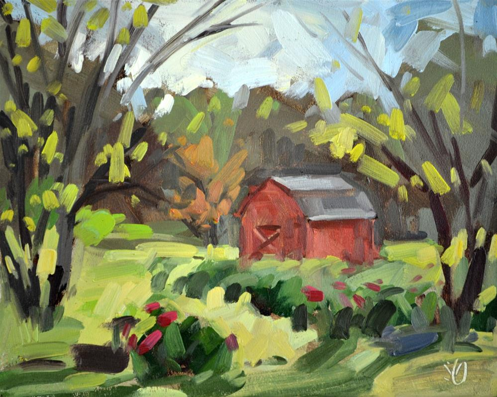 """""""Red Shed"""" original fine art by Jessica Green"""
